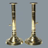 Pair Circa 1800 English Brass Side Ejector Candlesticks