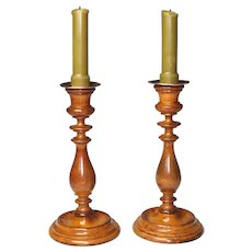 Pleasing Pair Circa 1830 Turned Yew Wood Candlesticks