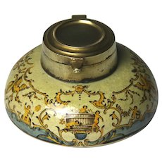 19th Century French Gien Pottery Inkwell Faience Decoration