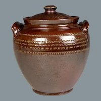 Wonderful Circa 1840 English Salt Glaze Stoneware Pickle Jar