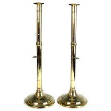 Rare Circa 1800 English Tall Brass Side Ejector Candlesticks