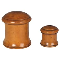 Two Beautiful Circa 1835 English Boxwood Jars