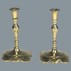 Diminutive Pair 19th Century Brass Candlesticks