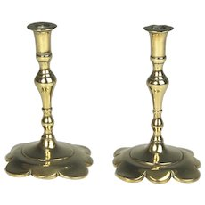 Diminutive Pair 19th Century Brass Candlesticks