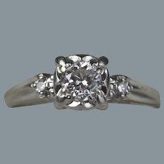 1940's 14K White Gold and Half Carat Diamond Ring