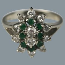 Vintage 14K Gold, Diamond and Emerald Cocktail Ring