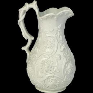 Circa 1860 English Ridgway & Abington Salt Glazed Pottery Jug Crysanthemum Motif