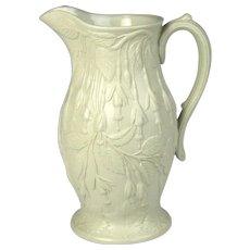 Circa 1852 English John & Thomas Lockett Salt Glazed Pottery Jug Fushias Motif
