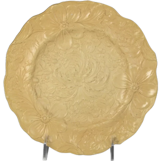 Circa 1830 Relief Moulded Yellowware Pottery Plate, Strawberries and Florals