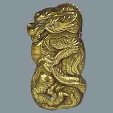 Circa 1890 Japanese Brass Dragon Form Vesta or Match Case