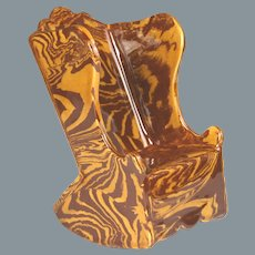 Rare Circa 1870 English Marbled Slipware Miniature Rocking Chair