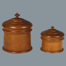Circa 1860 Turned Maple Peaseware Jars