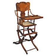 Antique Victorian Oak Press Back Rocker Collapsible High Chair