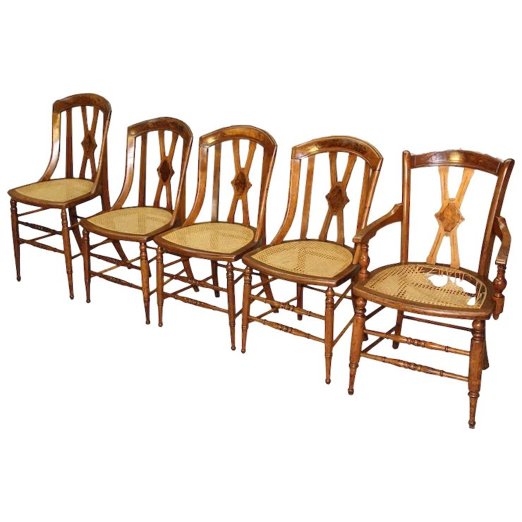 Antique Set of 5 Victorian Dining Chairs - Antique Set Of 5 Victorian Dining Chairs : Maine Antique Furniture