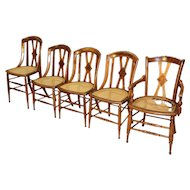 Antique Set of 5 Victorian Dining Chairs