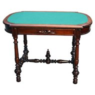 Antique Walnut Victorian Library Table Writing Desk