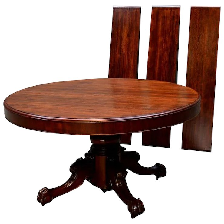 Round Inch Split Base Mahogany Dining Table Maine Antique - 54 inch round table with leaf