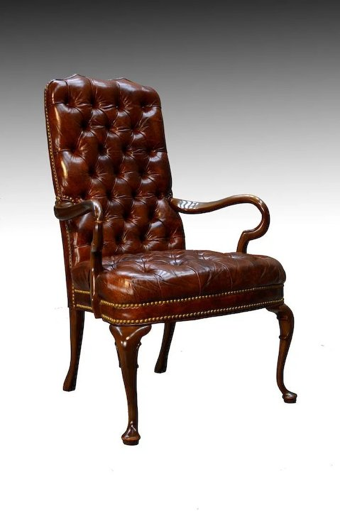 Ordinaire 100% Genuine Leather Chippendale Tufted Arm Chair By Schafer Brothers