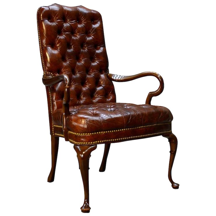 100 Genuine Leather Chippendale Tufted Arm Chair By Schafer Brothers