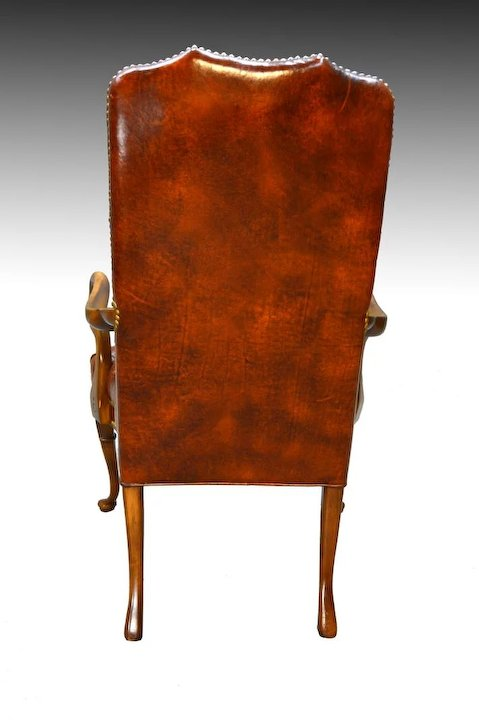 Merveilleux 100% Genuine Leather Chippendale Tufted Arm Chair By Schafer Brothers