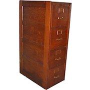 Oak Four Drawer Standard Size File Cabinet