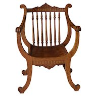 Oak Carved Unusual Lyre Back Music Chair