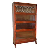 Mahogany Sectional Leaded Door Bookcase with Drawer
