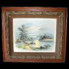 Victorian Oak Heavy Carved Picture Frame with Cabin Scene Print