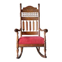 Victorian Oak Carved Stick and Ball Fancy Rocker