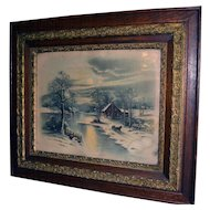 Victorian Oak Carved Picture Frame w/ Winter Moonlight Scene