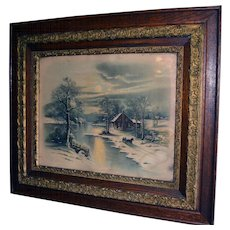 Victorian Oak Carved Picture Frame w/ Winter Moonlight Scene