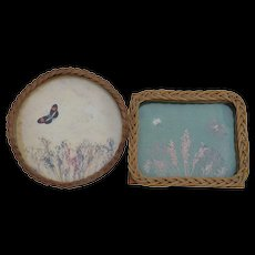 Two Antique Wicker Glass Trays with Butterflies