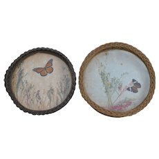 Two Antique Wicker Trays with Butterflies