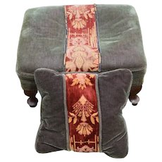 Mohair Footstool with Matching Pillow