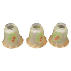 Set of 3 Hand Painted Electric Lamp Shades Antique