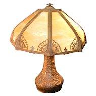 Caramel Slag Glass Panel Lamp – Handel Type