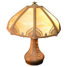 Caramel Slag Glass Panel Lamp – Handel Type