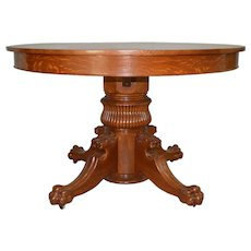 """ed976f65cd42 Tiger Oak 48"""" Round Lion Head Dining Table. Maine Antique Furniture"""