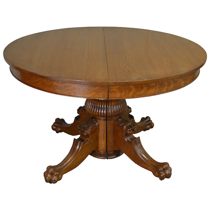 Tiger Oak 48 Round Lion Head Dining Table