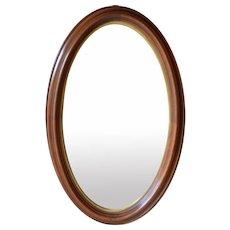 Victorian Oval Deep Dish Walnut Wall Mirror