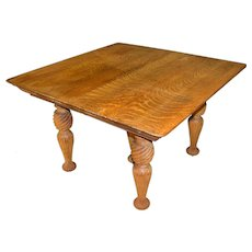 Tiger Sawn Oak Dining Table - Fluted Legs
