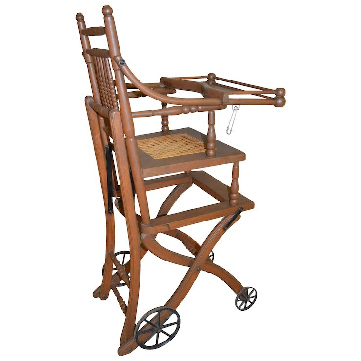 Antique Oak Children's Up and Down High Chair / Stroller - Antique Oak Children's Up And Down High Chair / Stroller : Maine