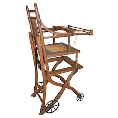 Antique Oak Children's Up and Down High Chair / Stroller