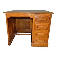 Oak Raised Panel Flat Top Desk - Restored