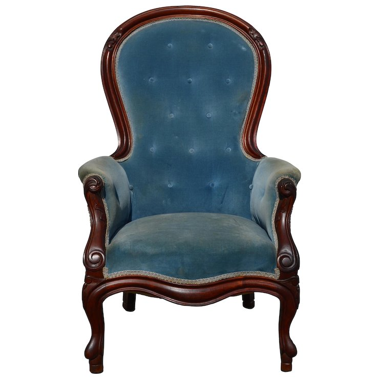 Victorian Blue Gentlemanu0027s Arm Chair