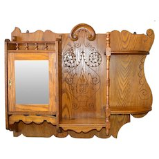 Oak Carved Victorian Medicine Cabinet / What Not Shelf