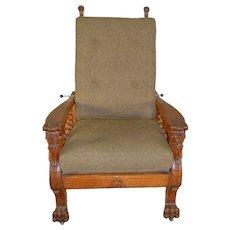 Horner Style Full Winged Griffin Oak Morris Chair
