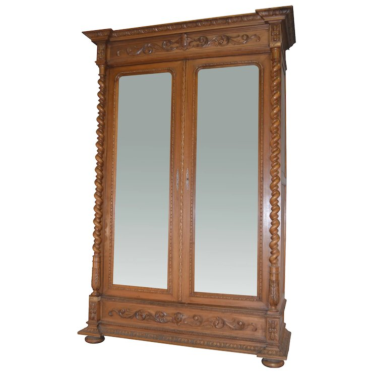 Carved Walnut Bevel Mirror Wardrobe Armoire with Rope Turn Columns - Carved Walnut Bevel Mirror Wardrobe Armoire With Rope Turn Columns