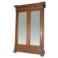 Carved Walnut Bevel Mirror Wardrobe Armoire with Rope Turn Columns