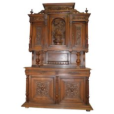 Monumental Carved Walnut Victorian Sideboard